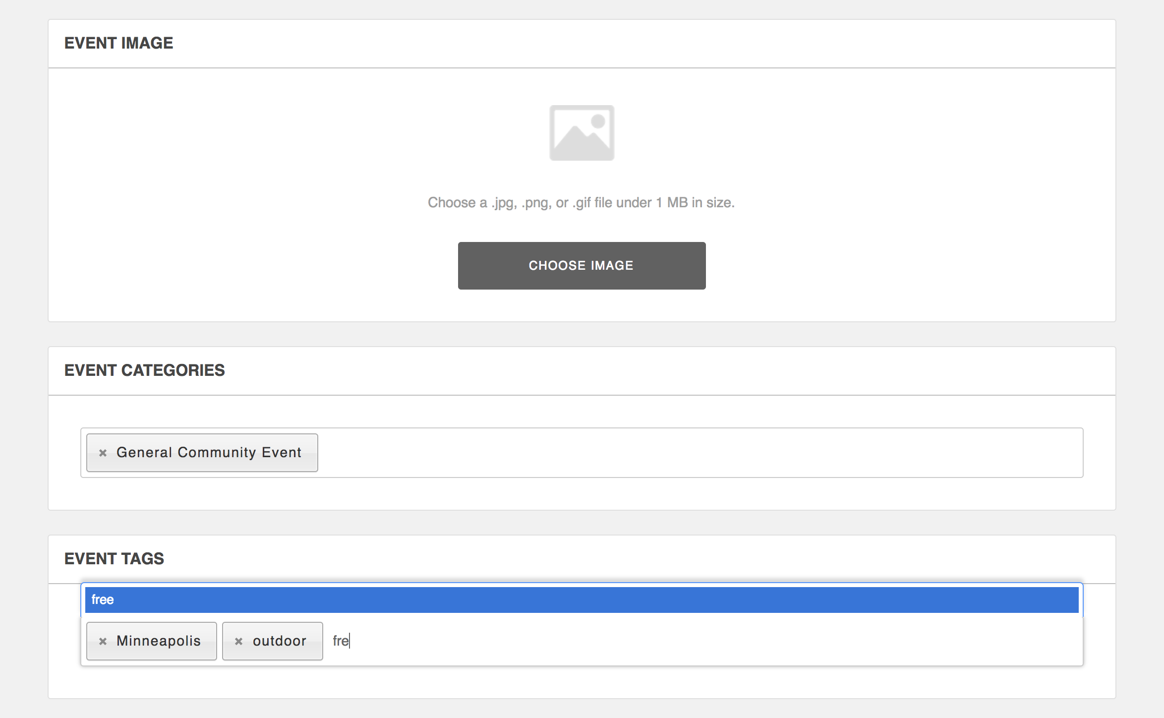Screenshot: Event form categories and tags