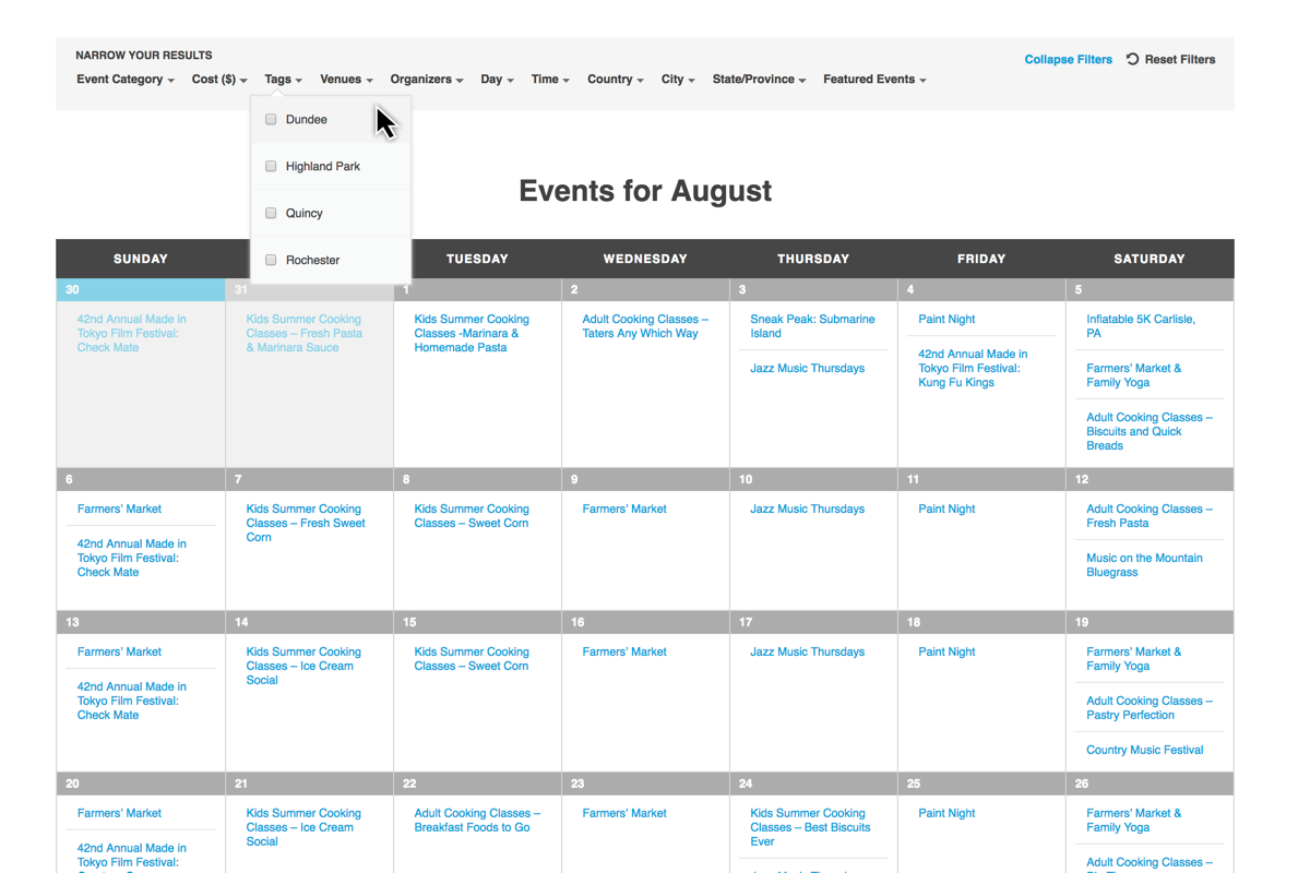 use filter bar to search events by interest location and more
