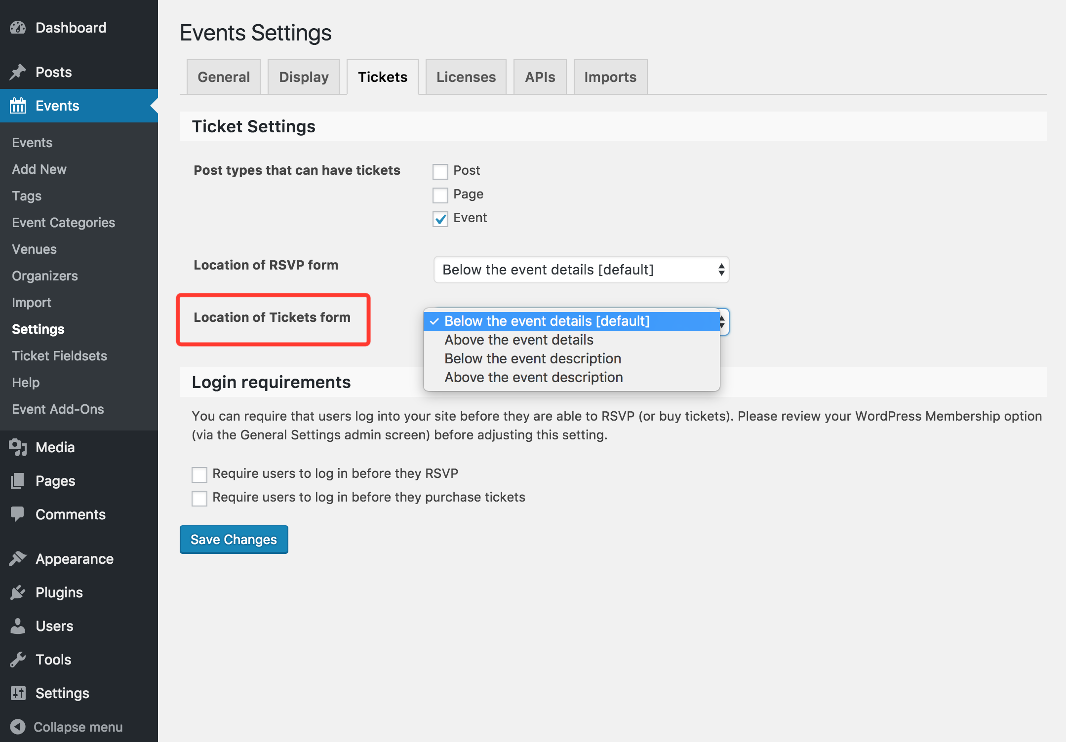 Event Tickets Plus - Location of Tickets Form setting