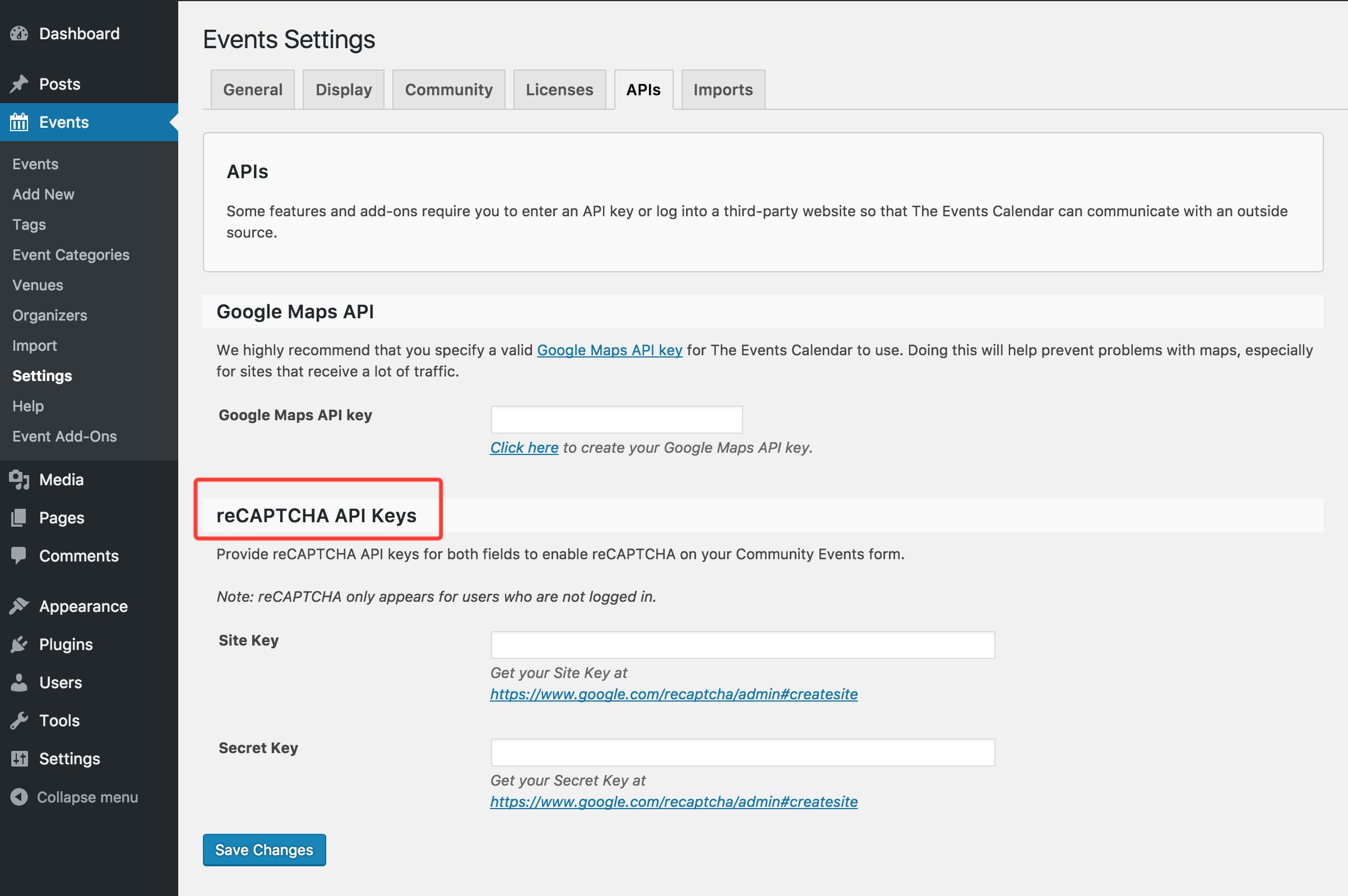 Community Events reCAPTCHA settings in APIs tab