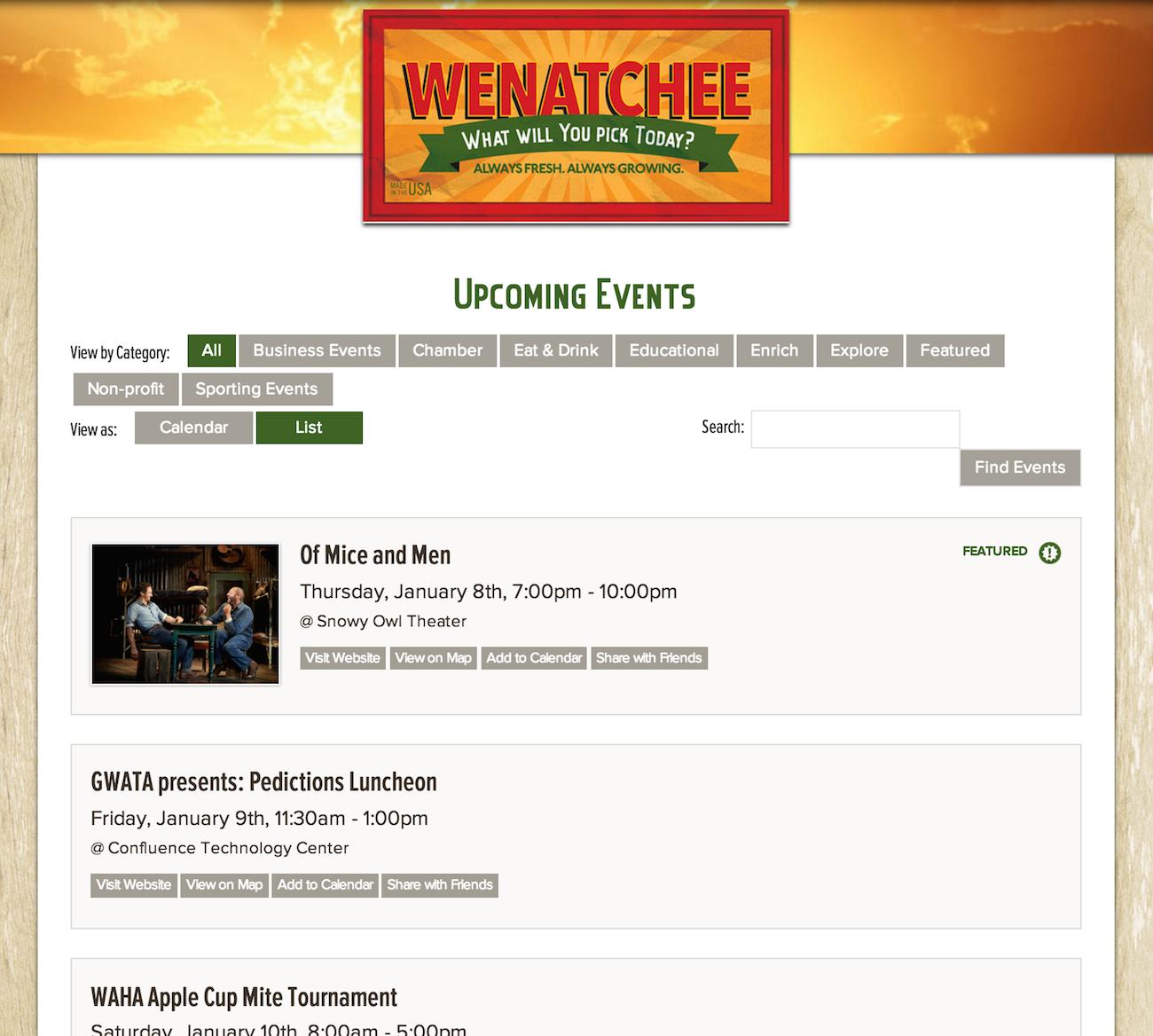 showcase - Wenatchee - list view