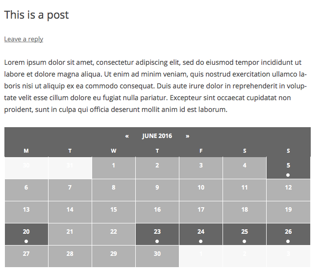 Inserting Calendar Content into Posts or Pages