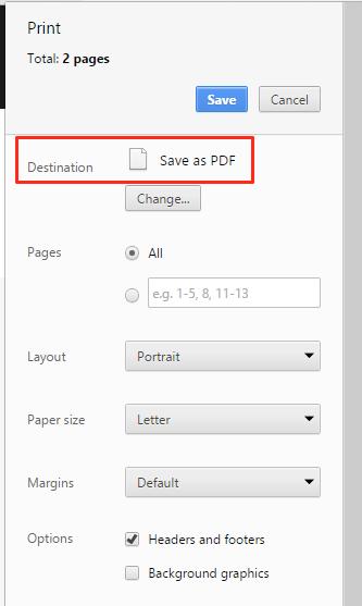 Chrome Print Preview