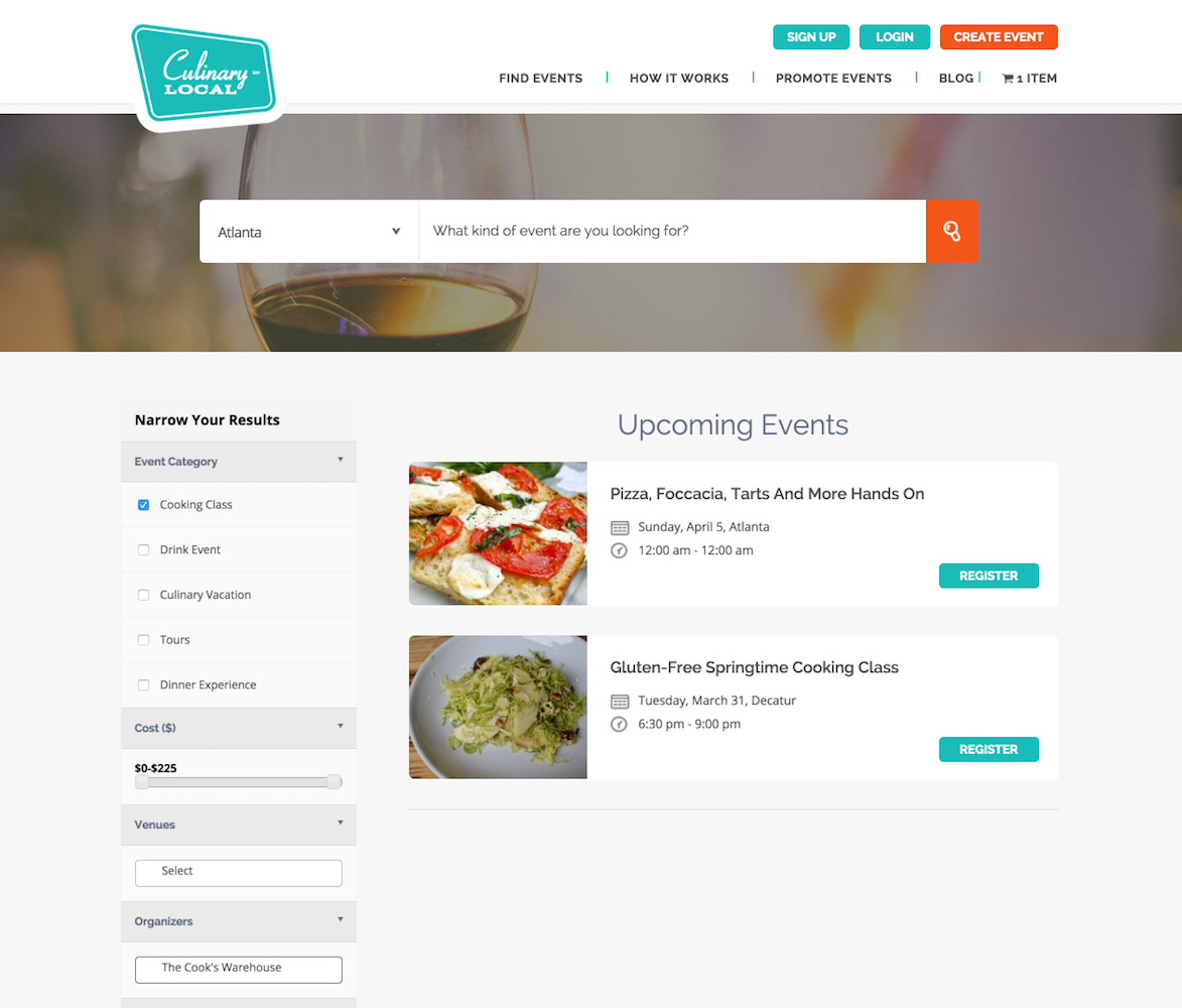 showcase - culinary local - filtered list view