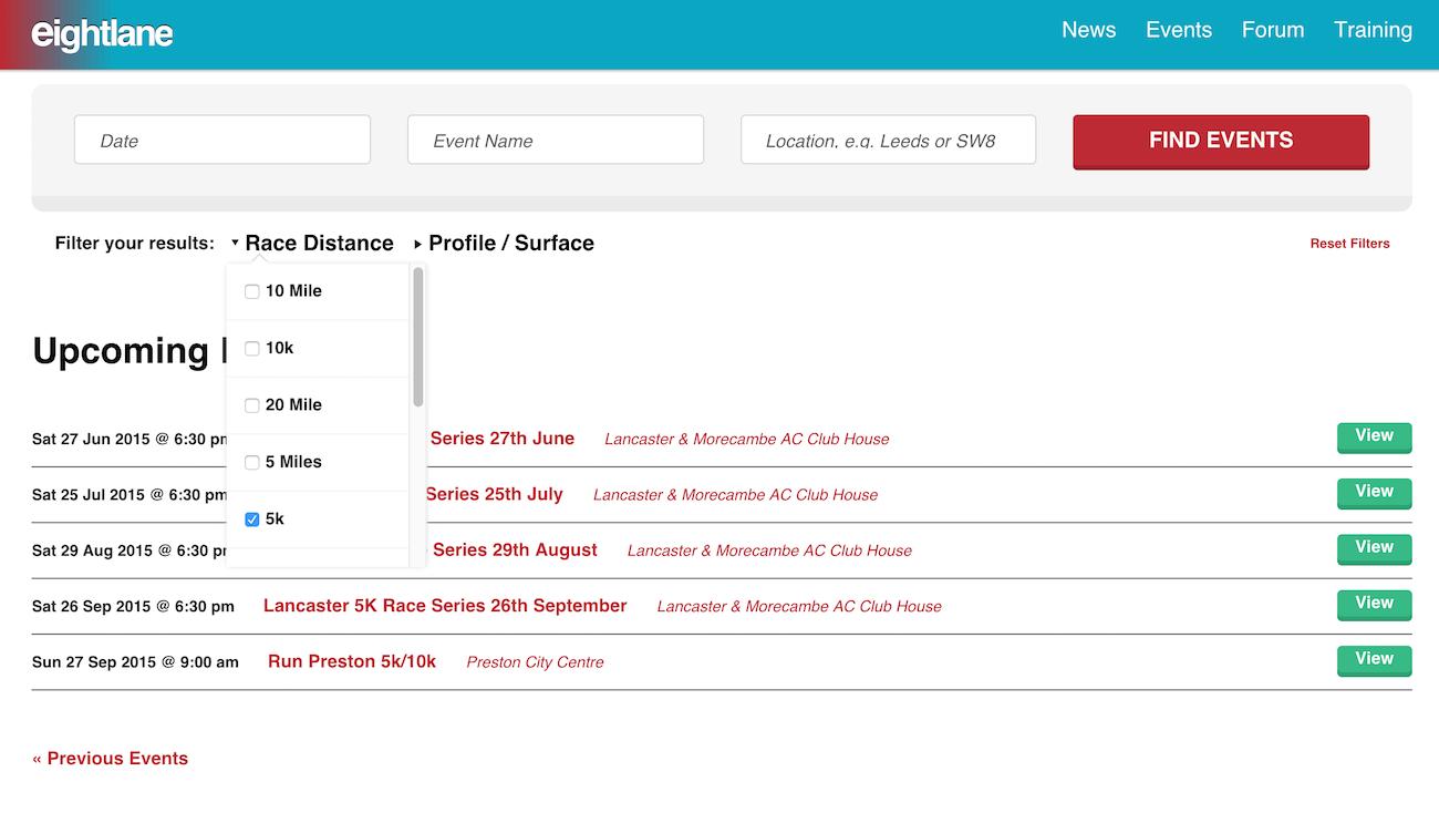showcase - eightlane - events list filtered