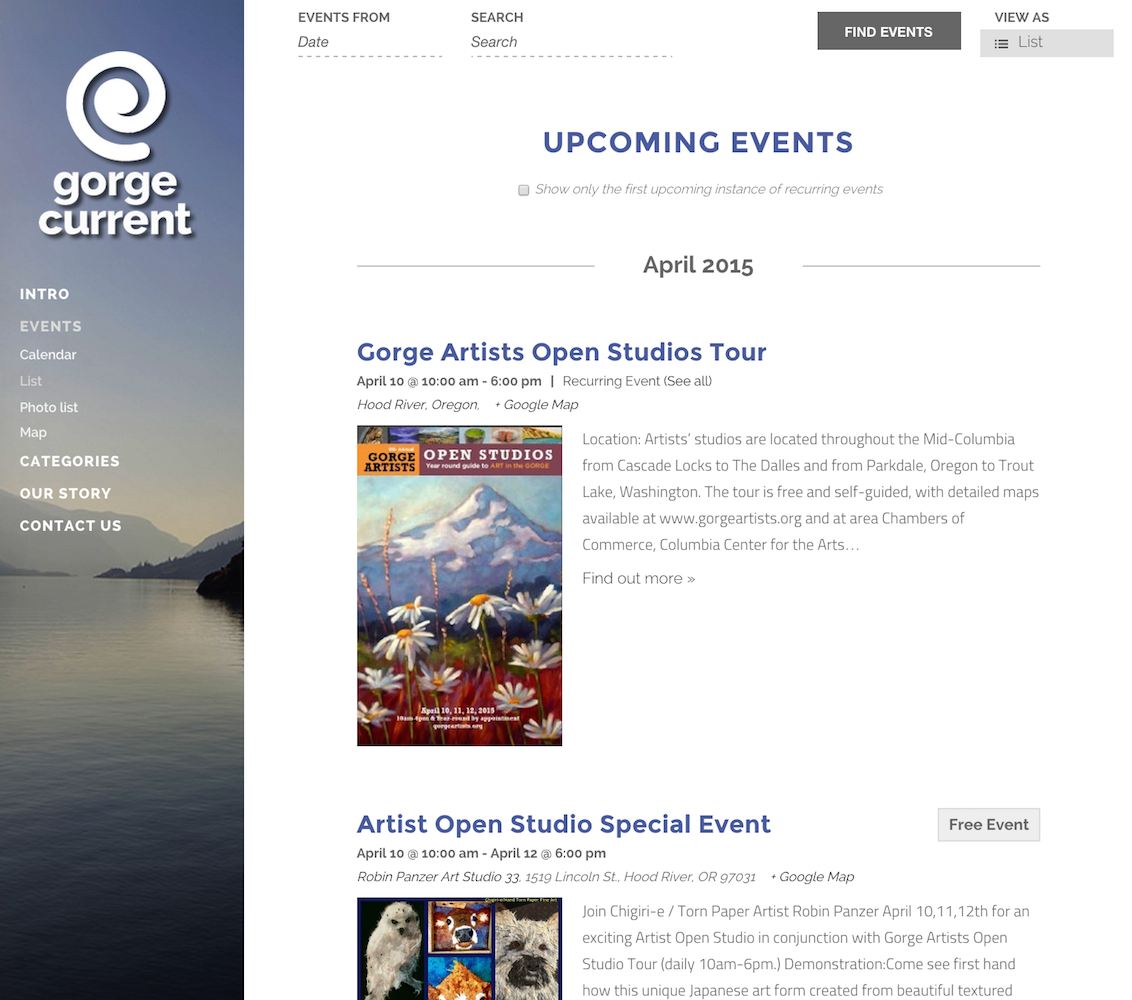 showcase - gorge current - list view