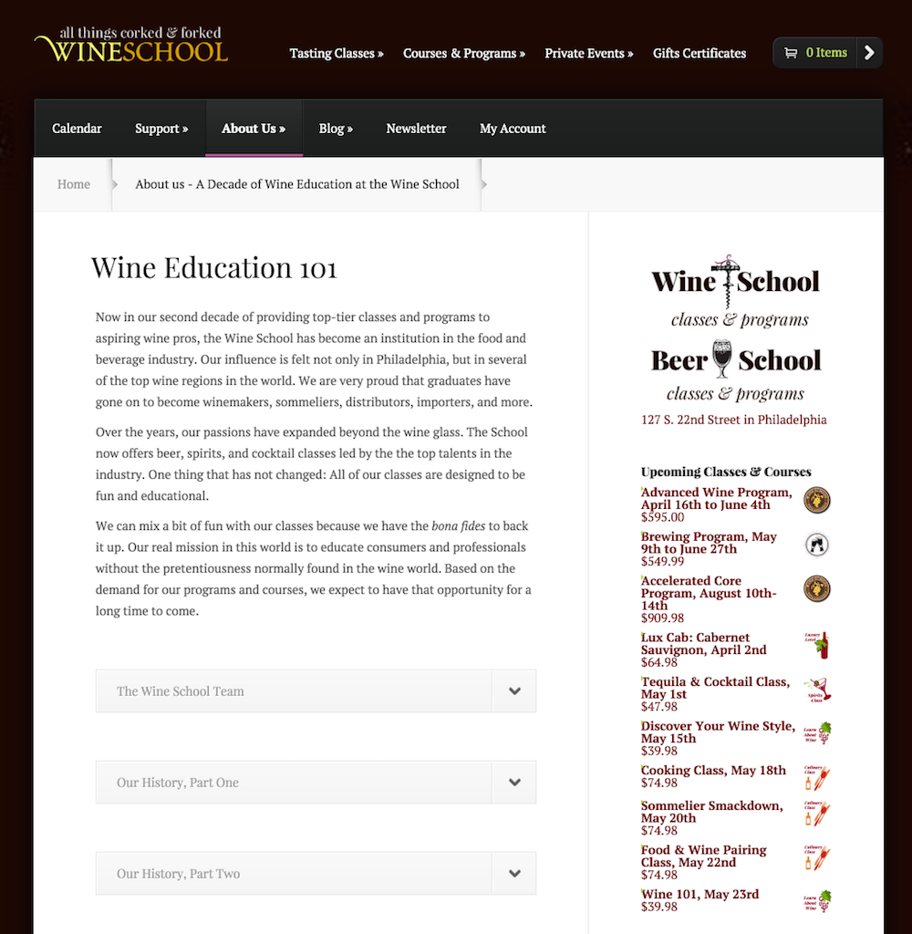 showcase - wine school - list widget