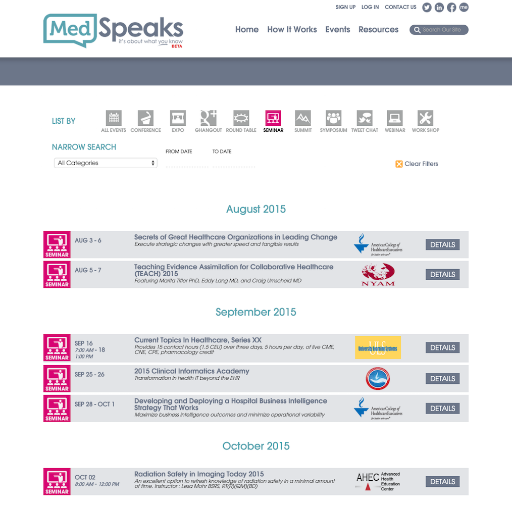 showcase - medspeaks - events by type