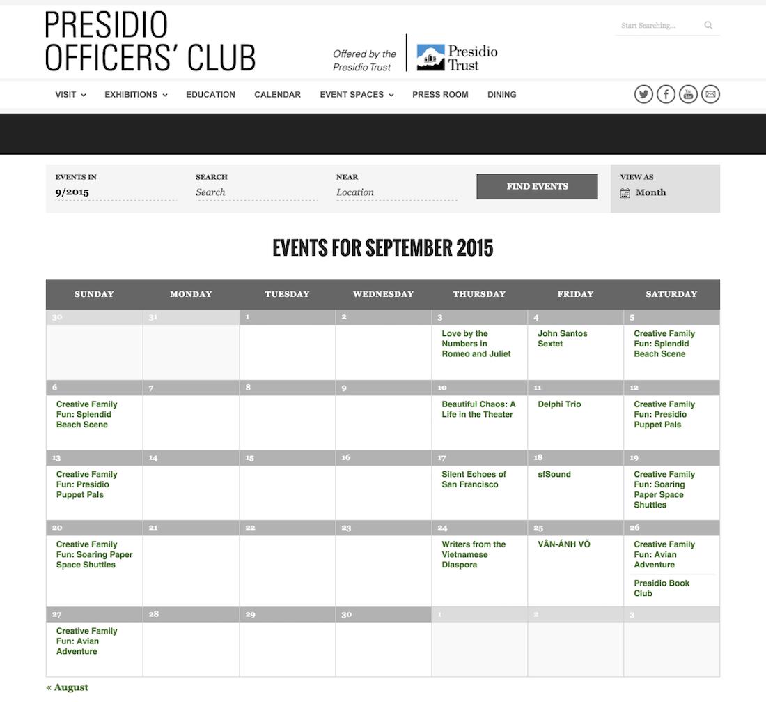 showcase - presidio - month view