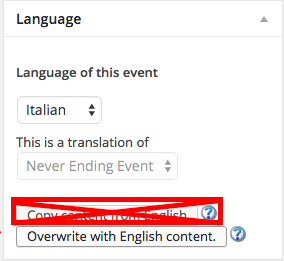 """Never use the first """"Copy content"""" link. Always use the """"Overwrite"""" content button"""