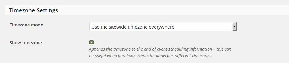 Screenshot of the timezone settings