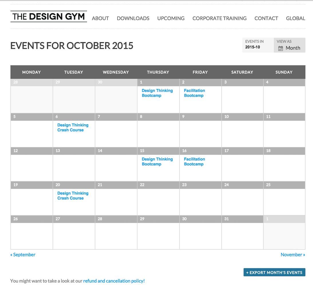 showcase - design gym - month view