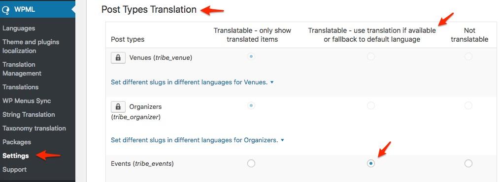 Post Types Translation Events