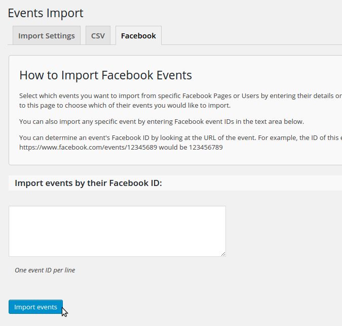 Screenshot of the Facebook Importer tab