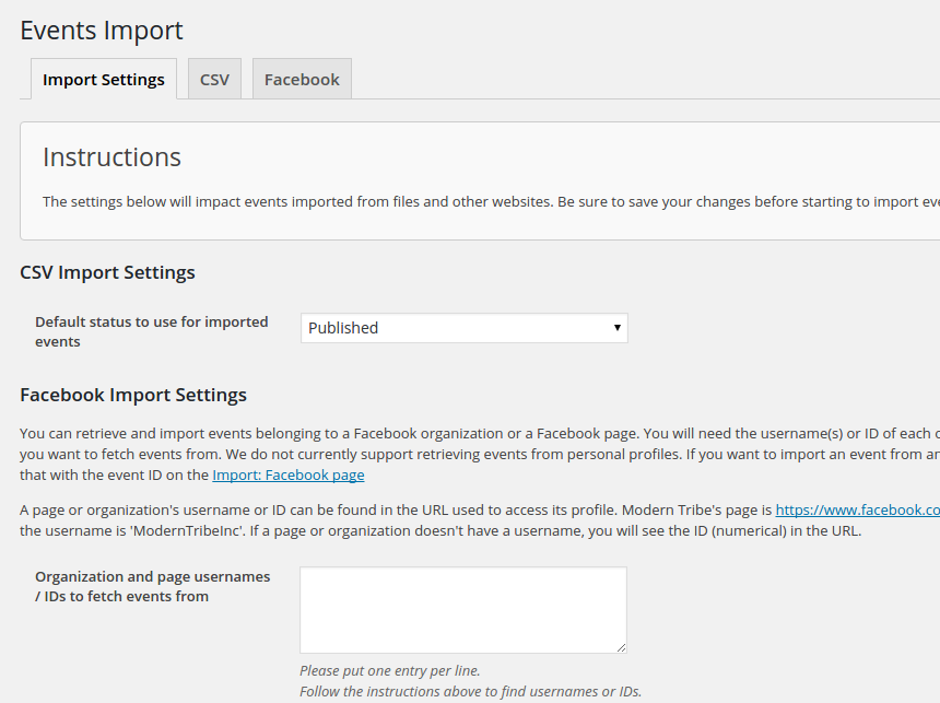 Screenshot showing the settings for Facebook Importer