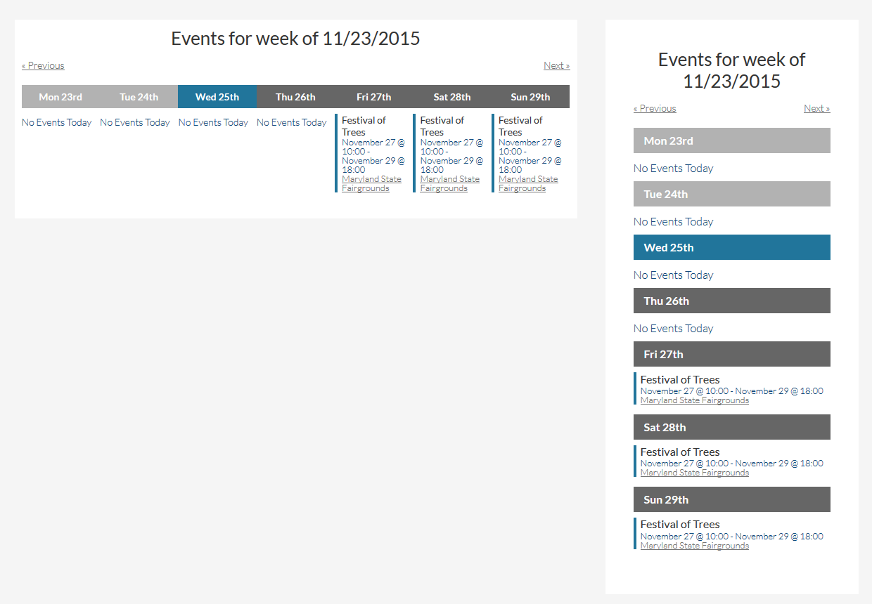 This Week Events Widget Front End