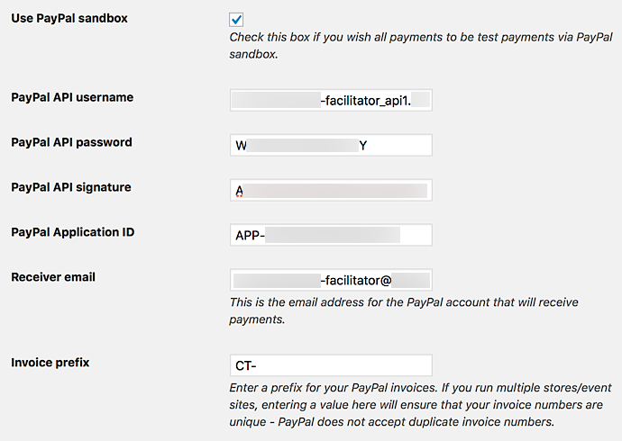 Example of PayPal Split Payments settings for Sandbox mode