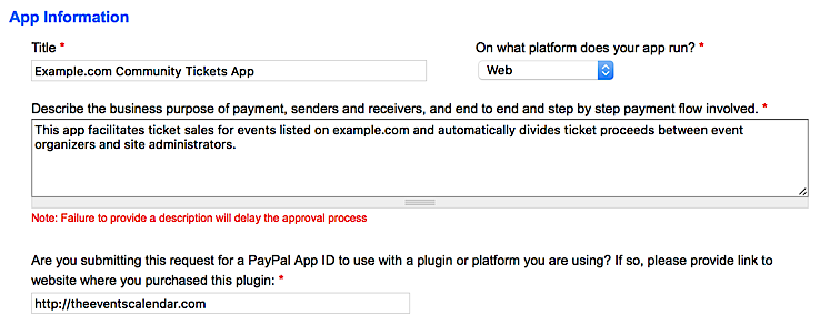Example fields for the PayPal NVP/SOAP API application