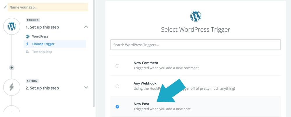 Zapier: Choose WordPress as your trigger