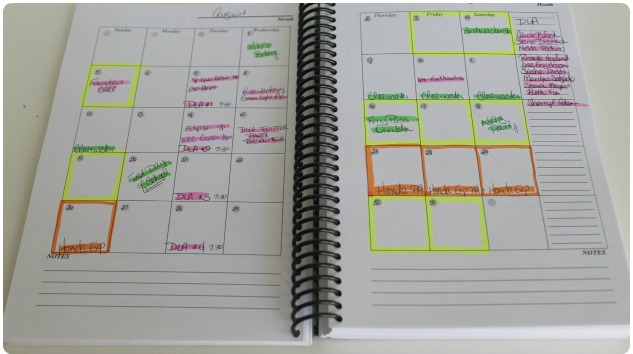 color coded planner for time management