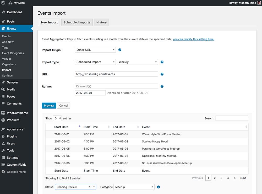 event aggregator bulk import tool for wordpress