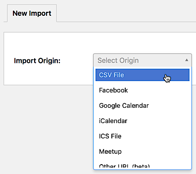 "Selecting ""CSV File"" as the import origin when importing from Event Aggregator"