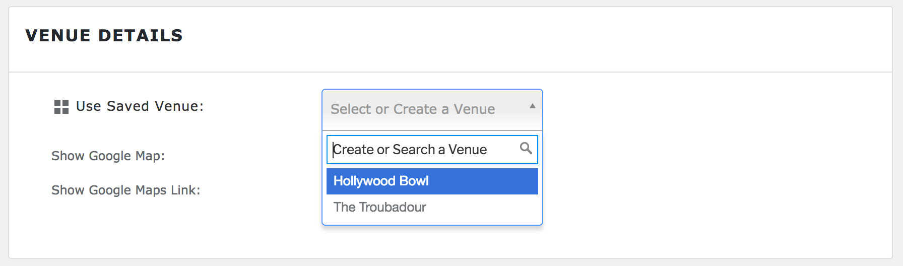All saved Venues are displayed without the extension
