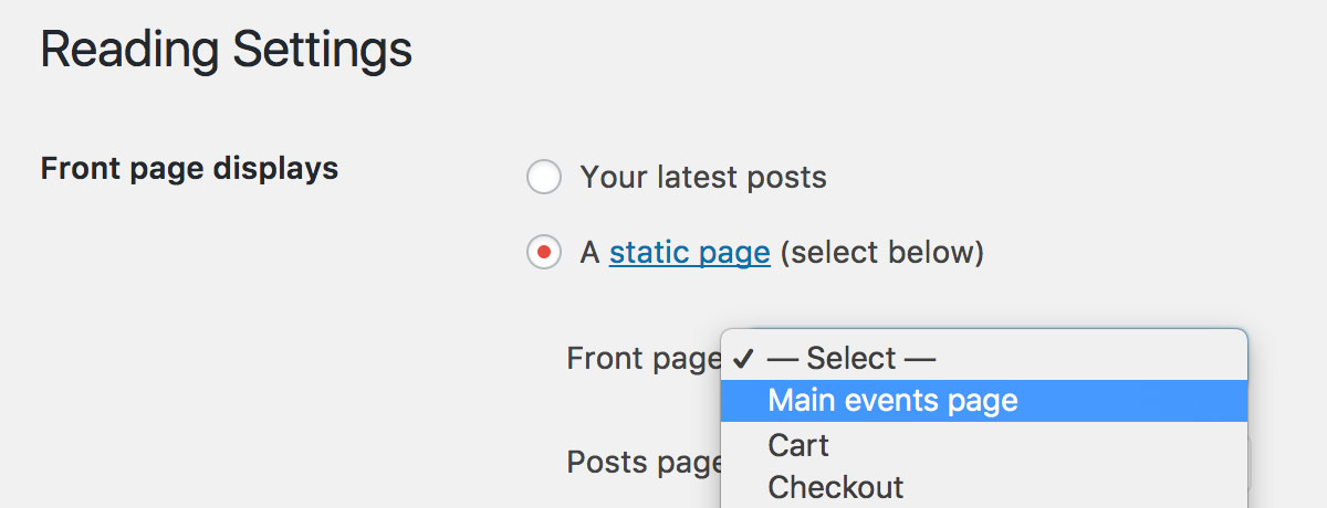 Set the calendar as the site homepage in the WordPress Reading Settings screen