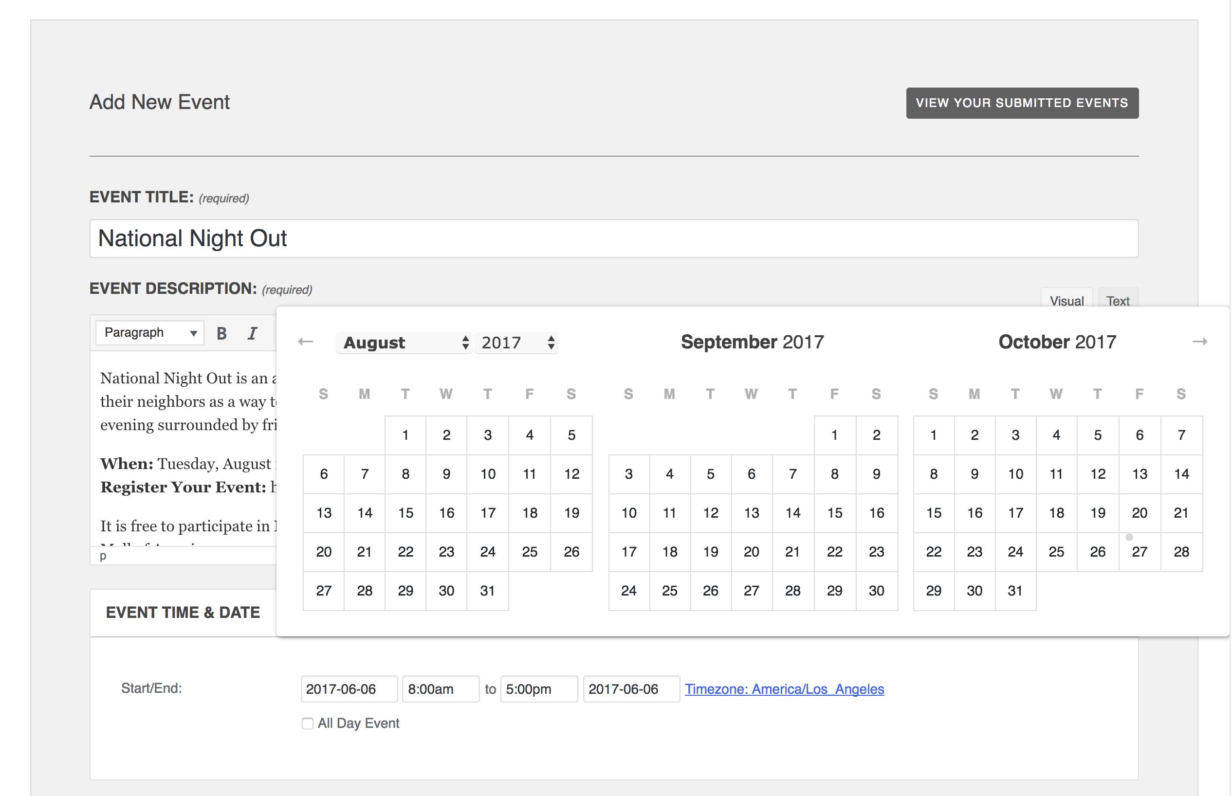 Add Event form screenshot