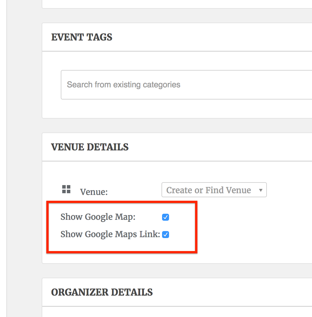 Add Google Maps Display and Link Options to Community Events The