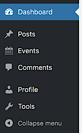 Limited selection of sidebar items for the Contributor user role