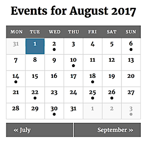 Calendar displayed in mobile view