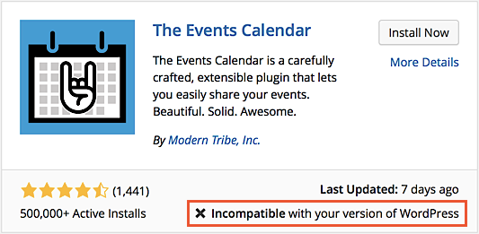 Notice that displays when attempting to install The Events Calendar on an older unsupported version of WordPress