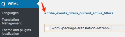 Setting up Filter Bar with WPML: Click on the + sign to expand the tribe_events_filters_current_active_filters twisty