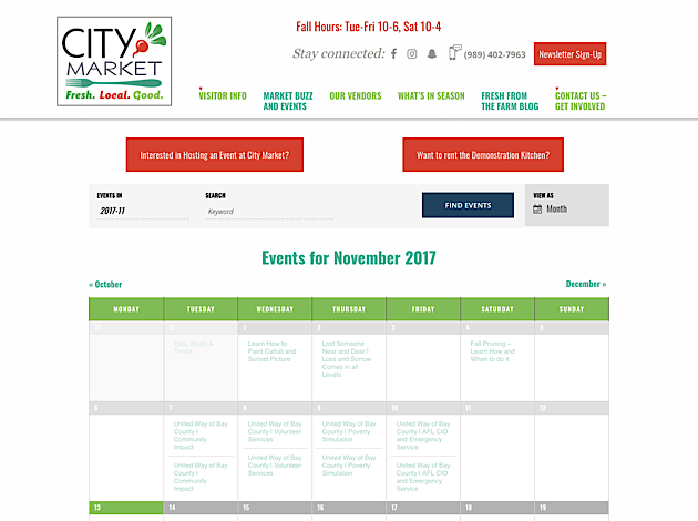 Calendar display on City Market website