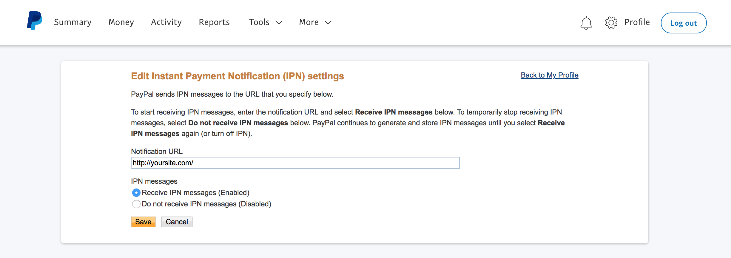 enter your sites address in the the notification url field and choose receive ipn messages enabled and save your settings