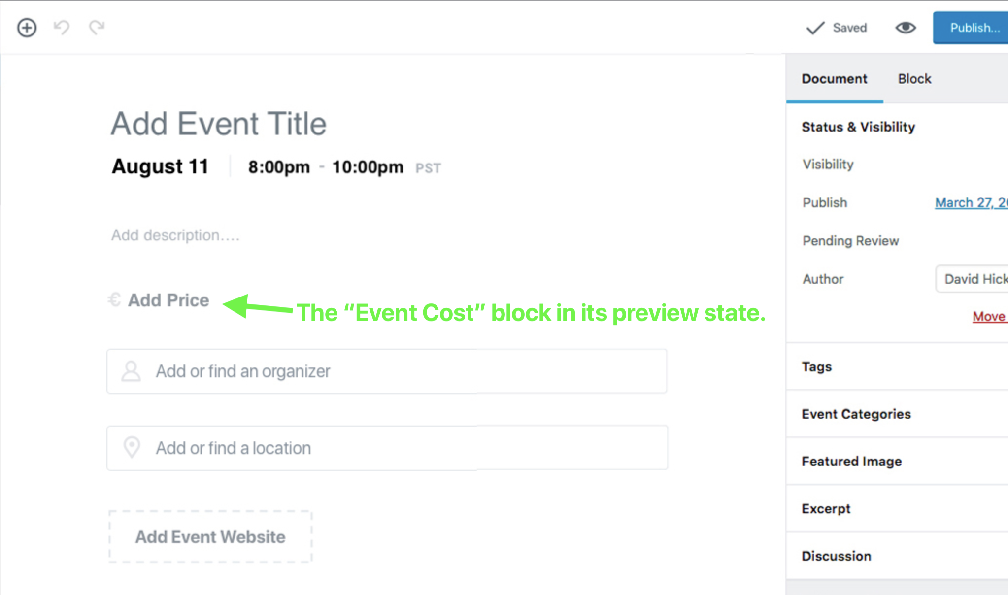 The Event Price Block's Preview State