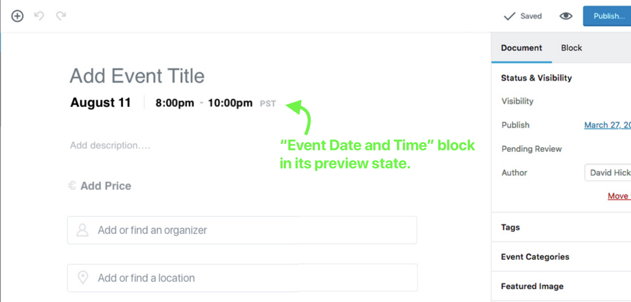 The Date and Time Block's Preview State