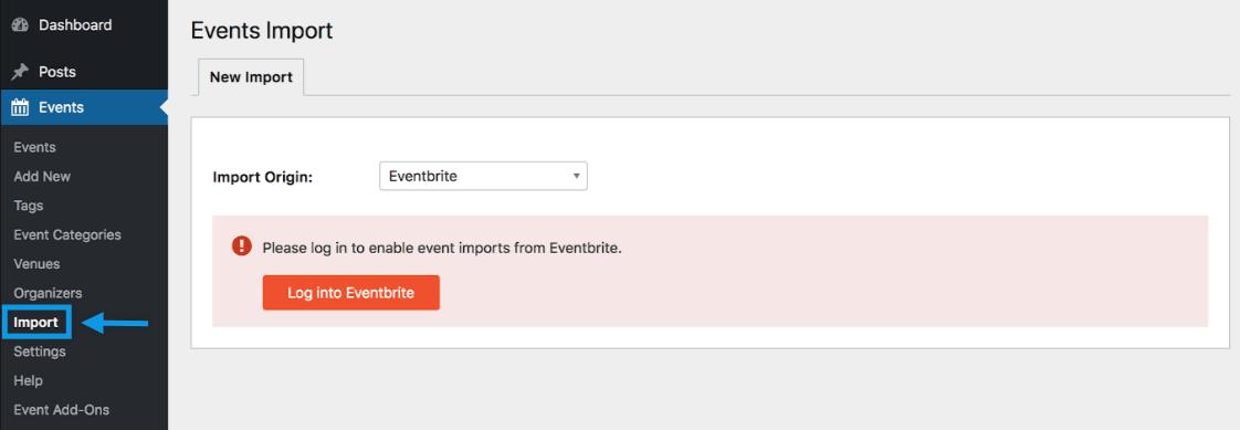 Import origin screen