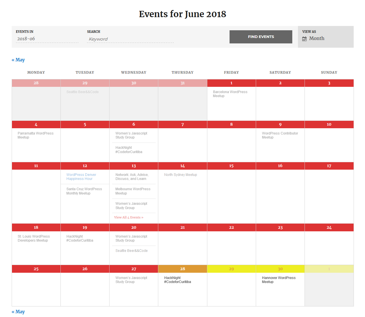 screenshot of customized past events heading colors and future events background colors in The Events Calendar month view