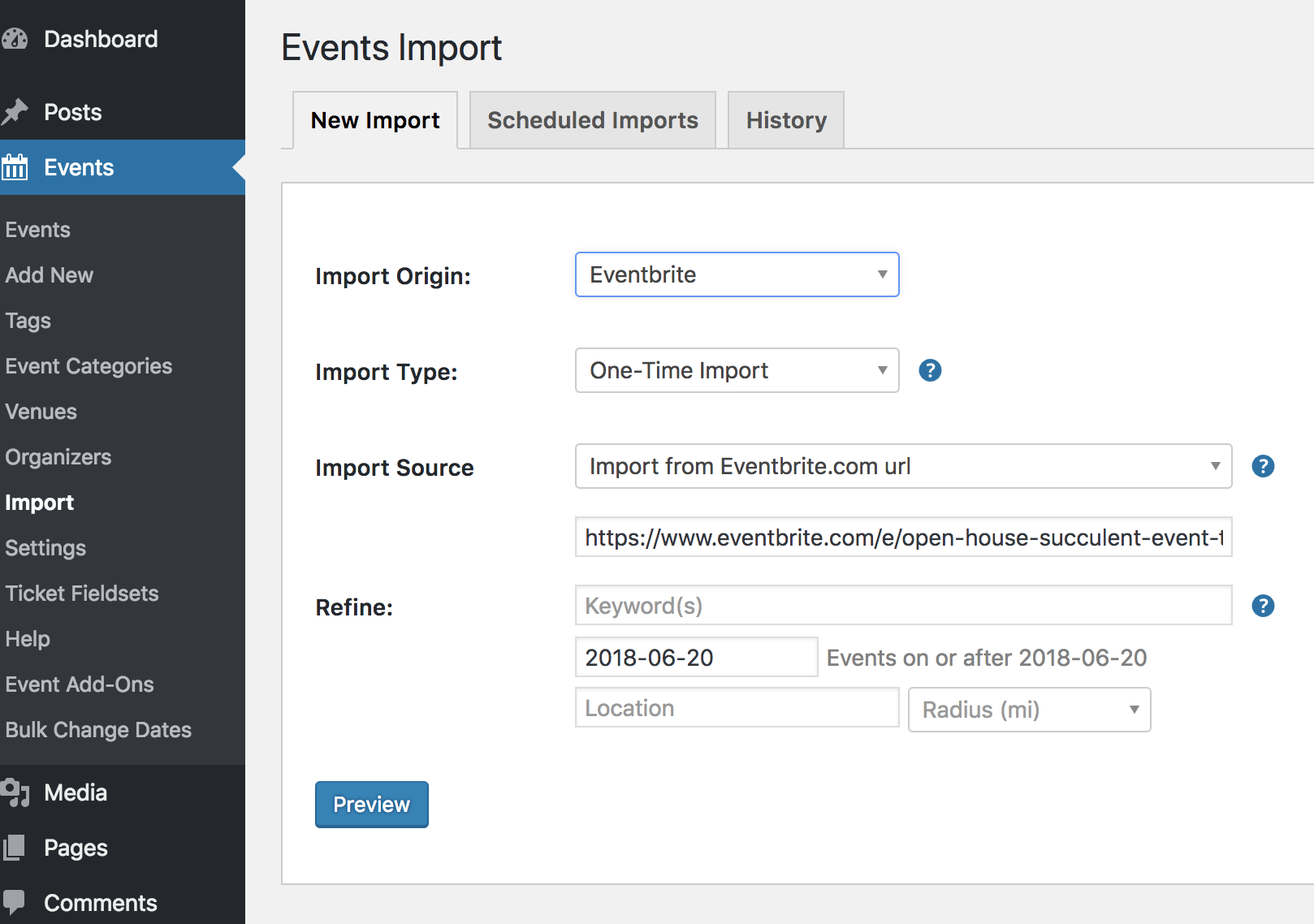 Eventbrite Import Origin