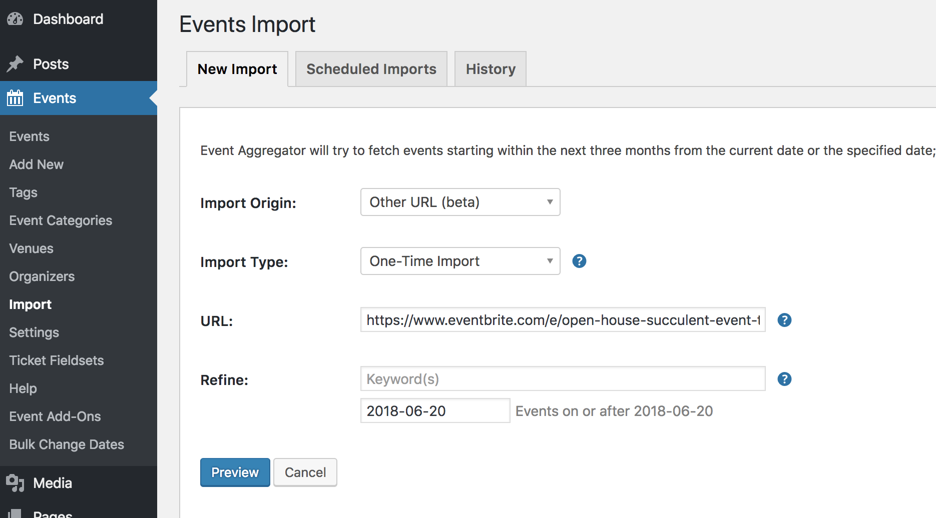 How to import Eventbrite events without tickets: Events > Import > Other URL > Eventbrite