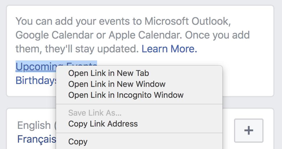 copy the Facebook events export link
