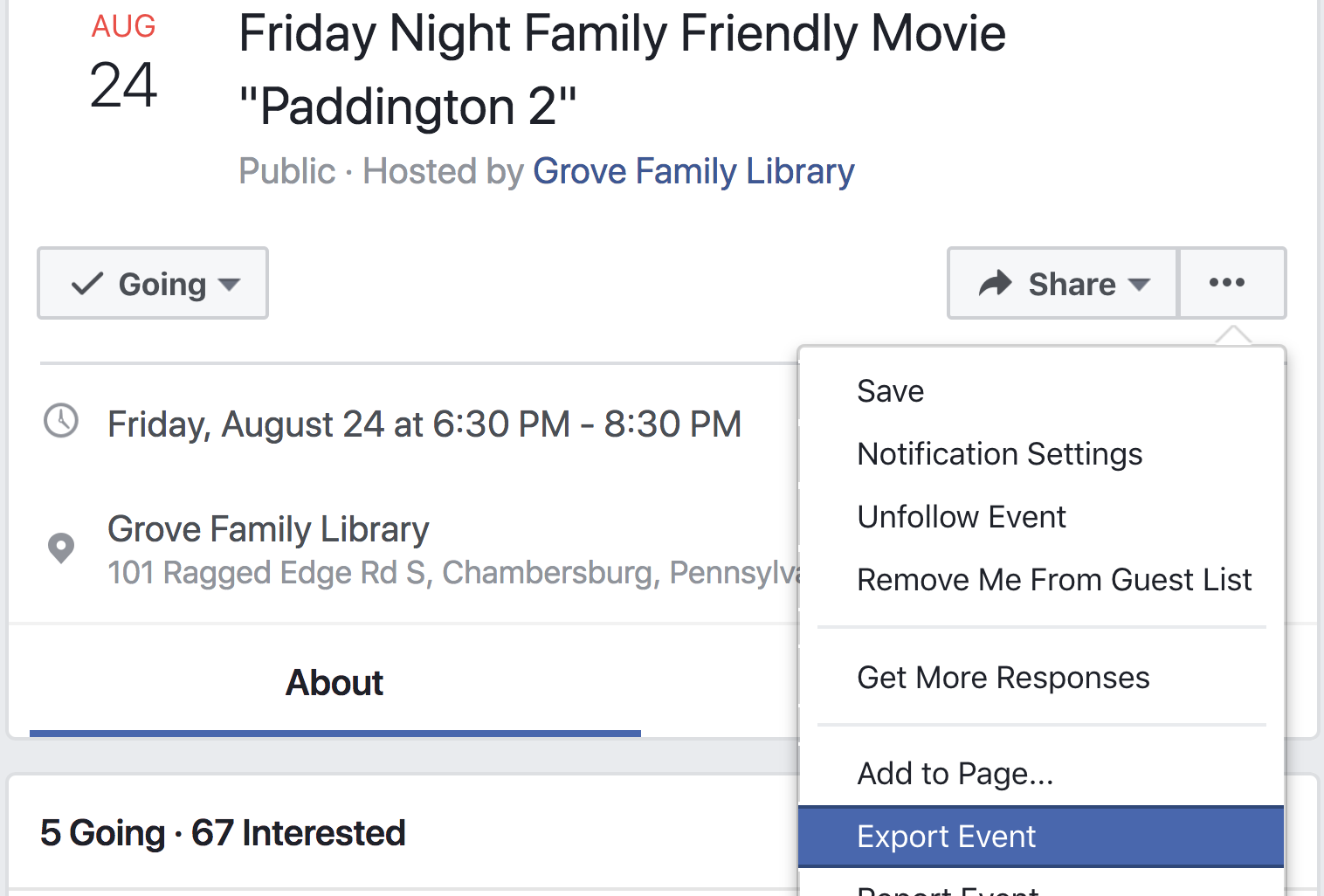 single facebook event > ... > export event