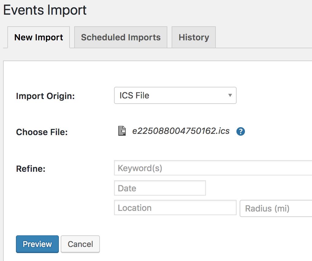 Events > Setings > New Import > ICS file > Upload