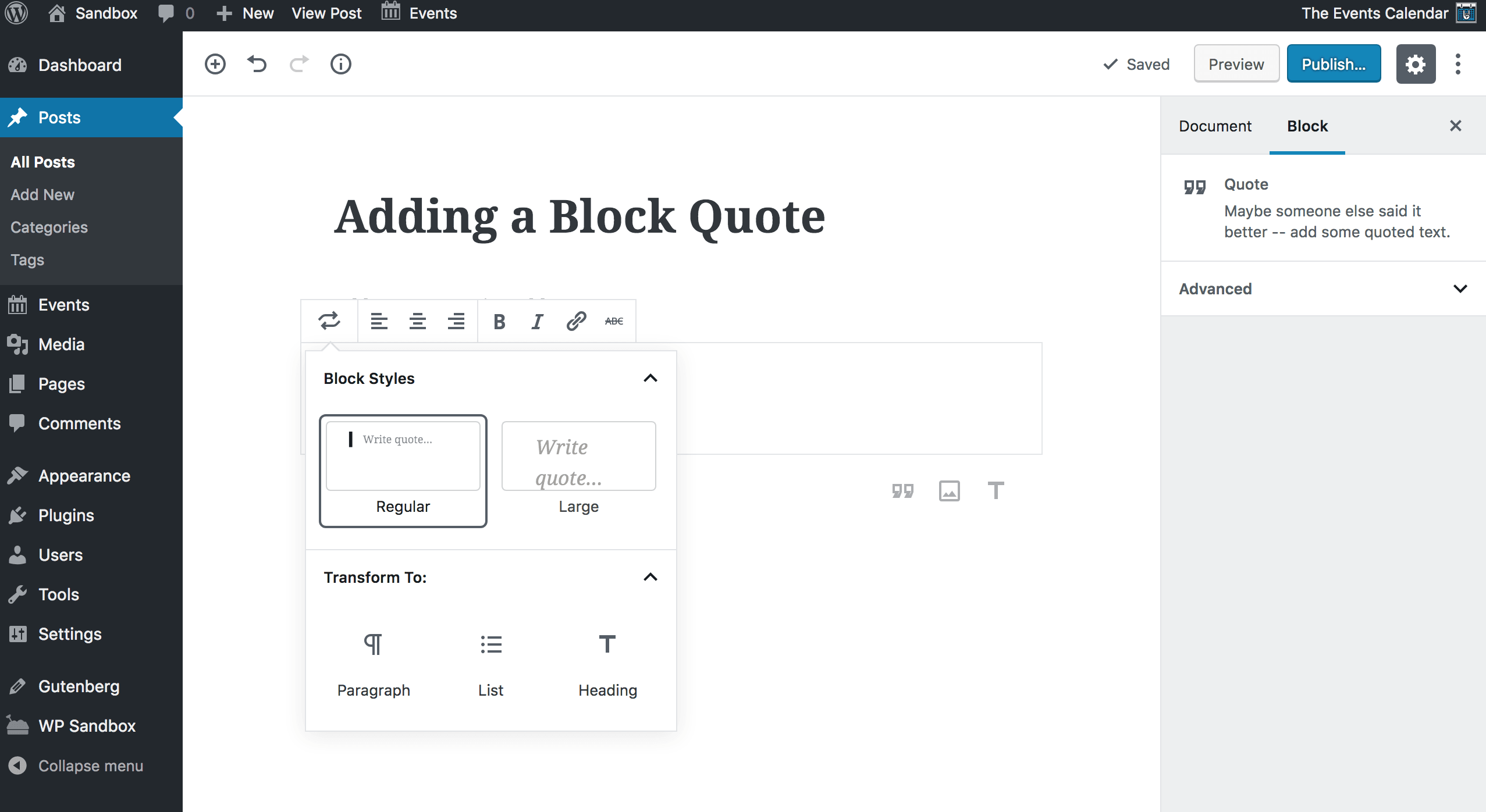 Screenshot: Adding a block quote in the Gutenberg block editor