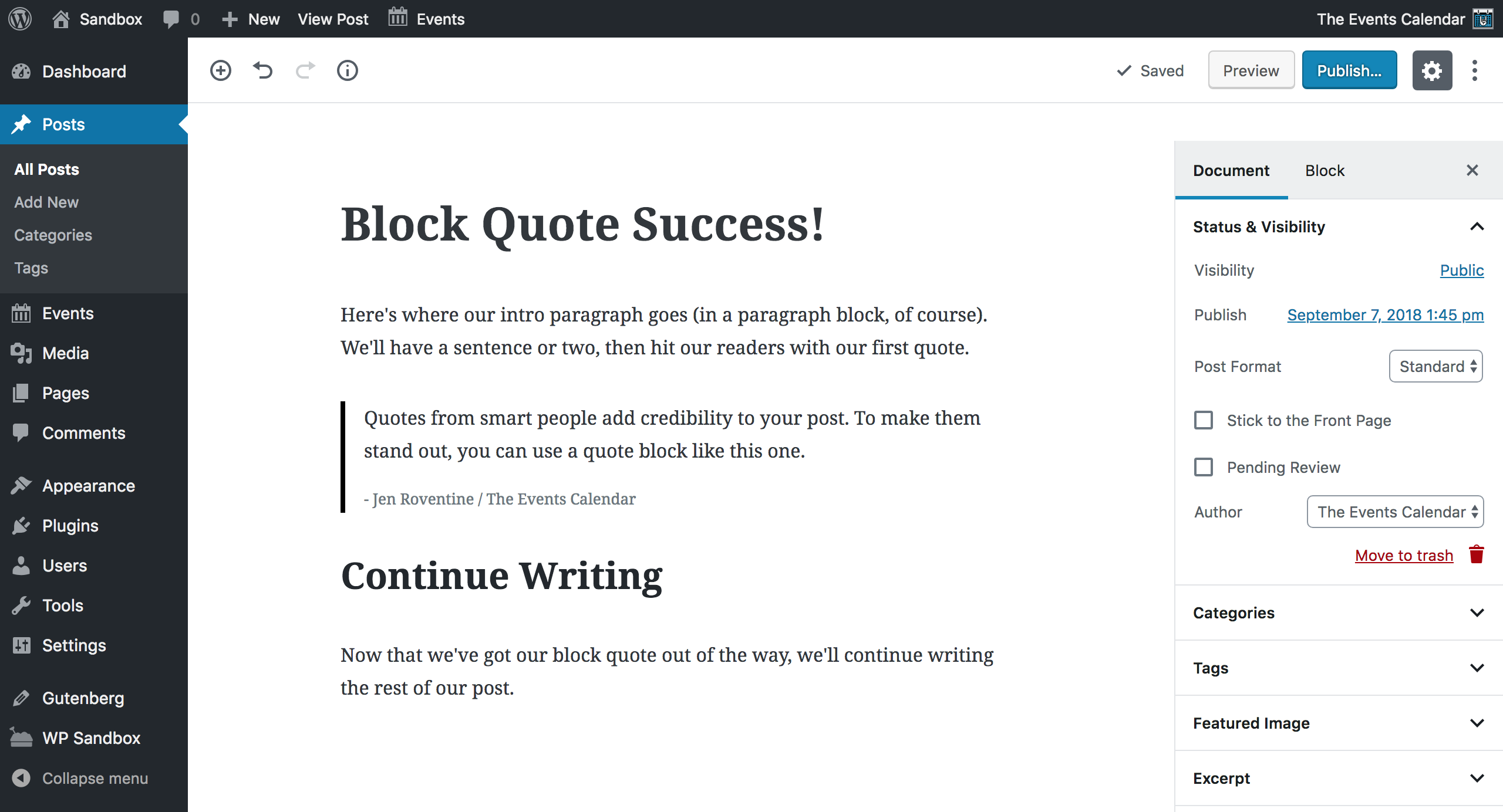 Screenshot: Block Quote frontend