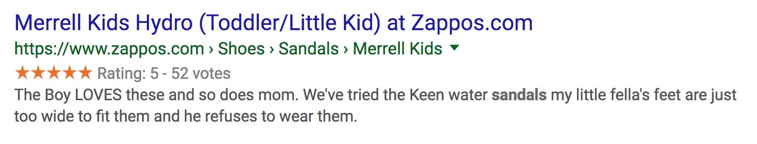 Screenshot of meta description result from Zappos.com