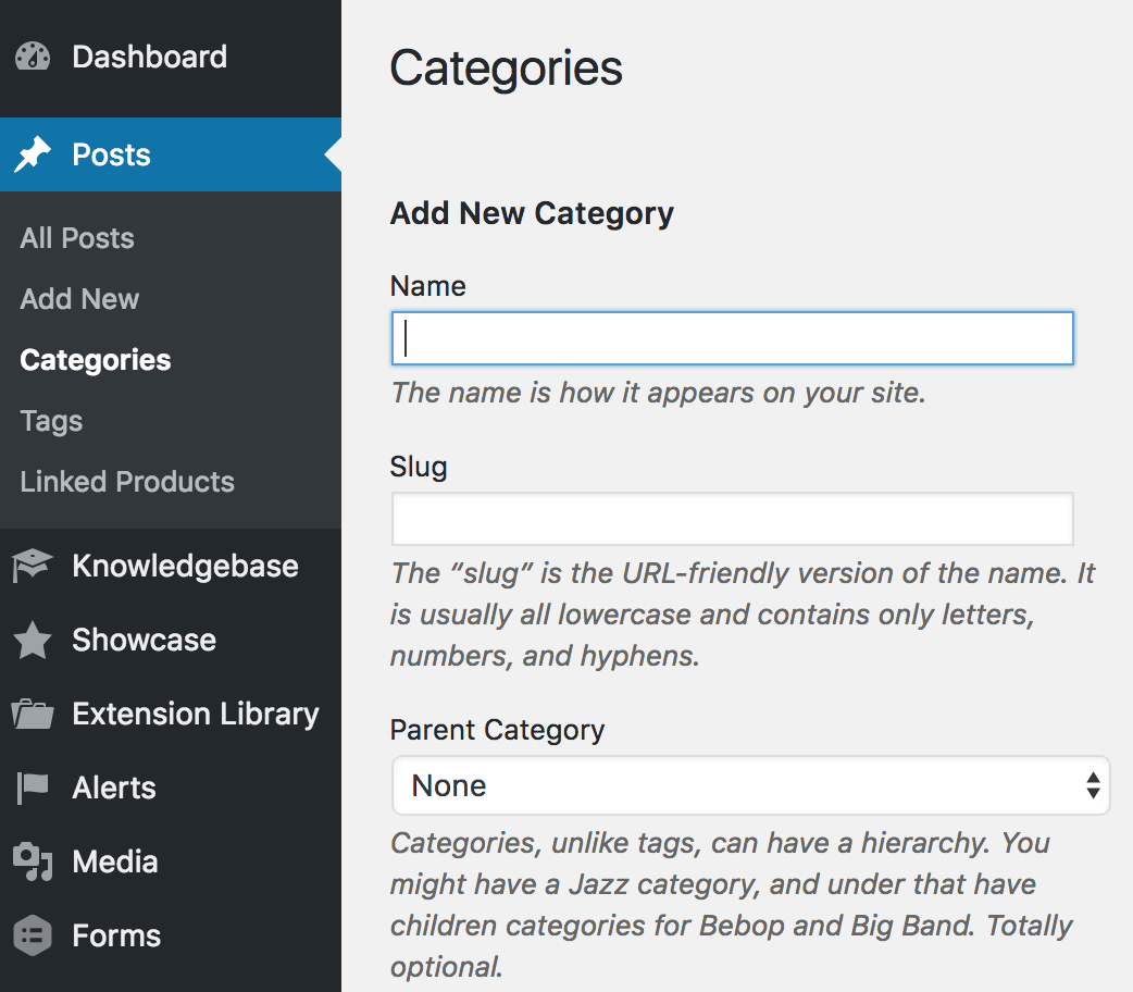 Add WordPress event categories and tags