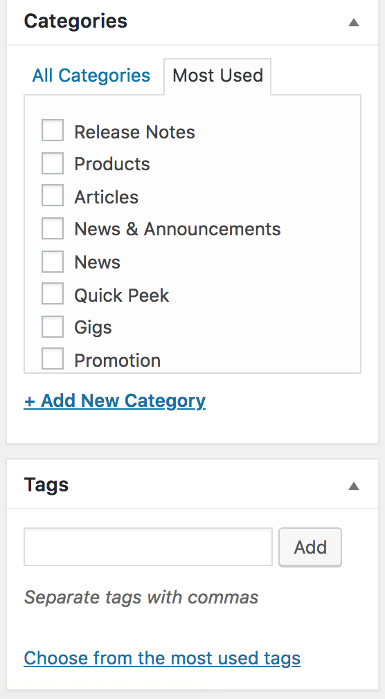 WordPress post editor categories and tags